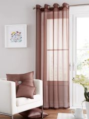 Swiss voile chocolate eyelet curtain panel