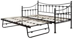 Jasmine black metal single daybed with trundle
