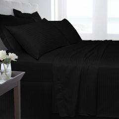 Black Egyptian Cotton Satin Stripe 200 TC duvet cover