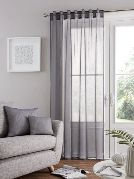 Bali voile grey tab top curtain panel