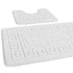 White Greek style 2 piece bath mat set