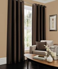 Faux silk chocolate eyelet curtains