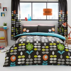 Hanson black cotton blend duvet cover