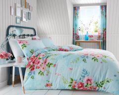 Alice pale blue cotton blend duvet cover