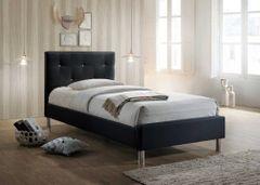 Black diamante single fabric bed