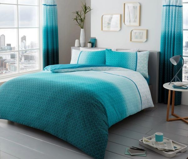 Urban Ombre teal duvet cover