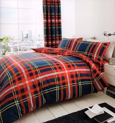 Newton Tartan navy & red cotton blend duvet cover
