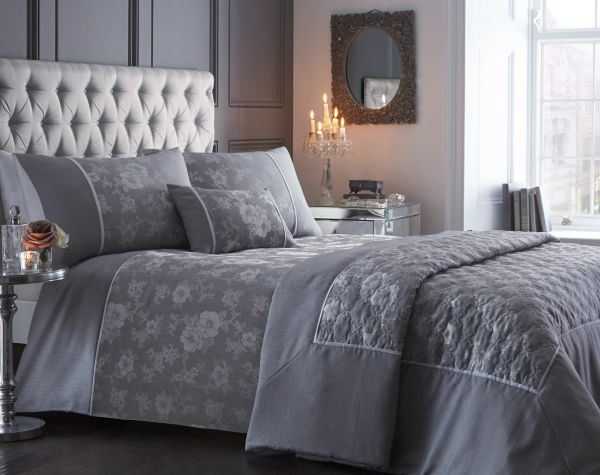 Warwick embroidered silver duvet cover