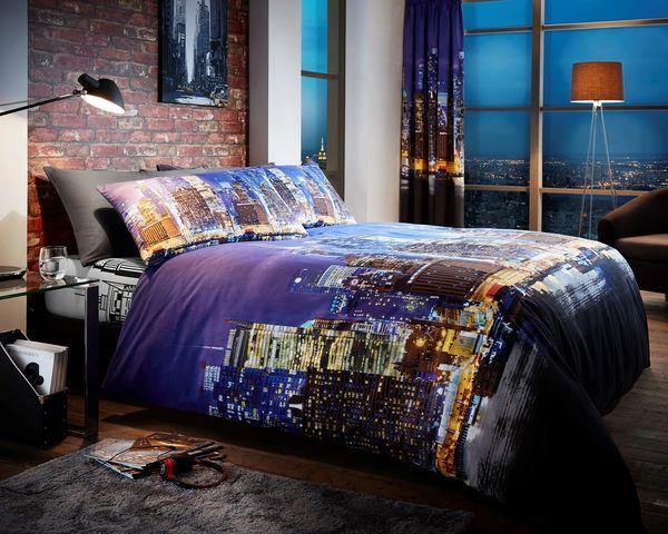 New York Night Life cotton blend duvet cover