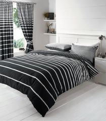 Linear black & white cotton blend duvet cover