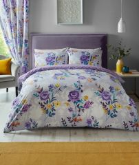 Ciara purple cotton blend duvet cover