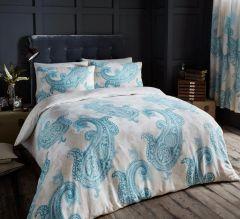 Paisley Crescent cream & teal cotton blend duvet cover