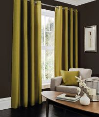 Faux silk green eyelet curtains