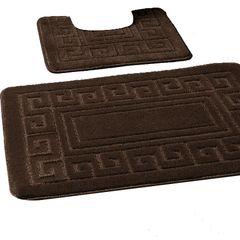 Chocolate Greek style 2 piece bath mat set