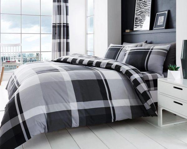 Waverly Check grey cotton blend duvet cover
