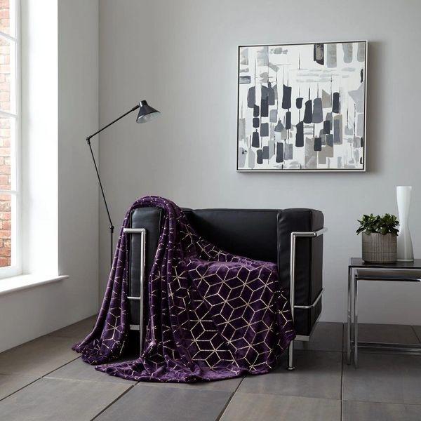 Metallic Cube purple/gold throw