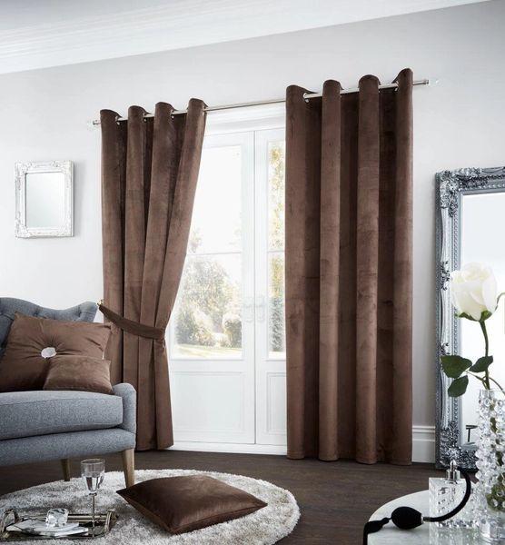 Riviara velvet mink eyelet curtains