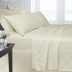 Cream Egyptian Cotton Satin Stripe 200 TC duvet cover