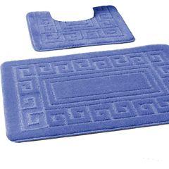Blue Greek style 2 piece bath mat set