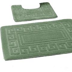 Green Greek style 2 piece bath mat set