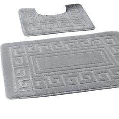 Silver Greek style 2 piece bath mat set