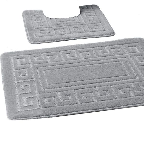 Silver Greek style 2 piece bath mat set