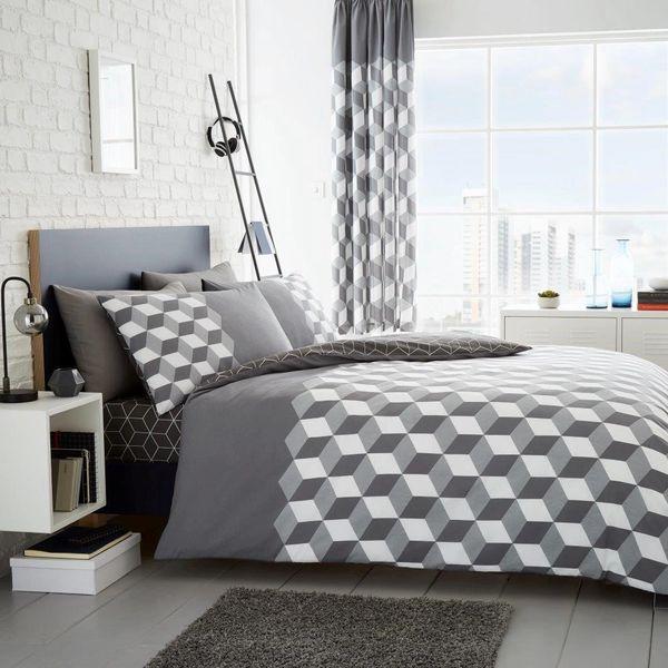 Cubix grey cotton blend duvet cover