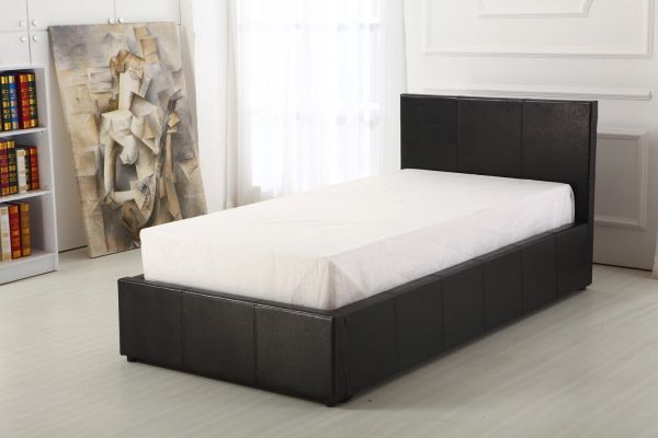 Black faux leather ottoman storage bed