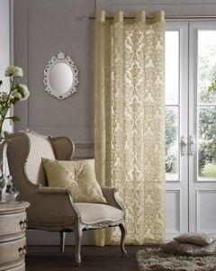Flock damask cream voile eyelet curtain panel