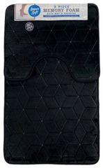 Black cube memory foam 2 piece bath mat set