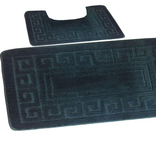 Dark Teal Greek style 2 piece bath mat set