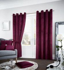 Riviara velvet aubergine eyelet curtains