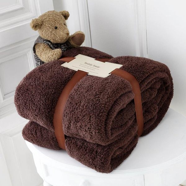 Teddy fleece plain chocolate throw