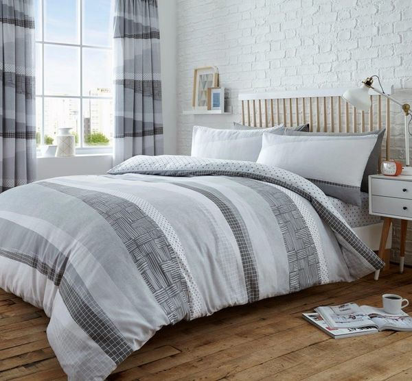 Dexter grey cotton blend duvet cover
