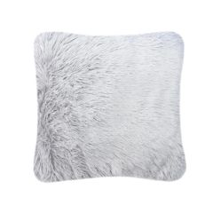 Fluffy fur silver cushion cover