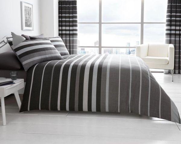 Block Stripes grey duvet cover