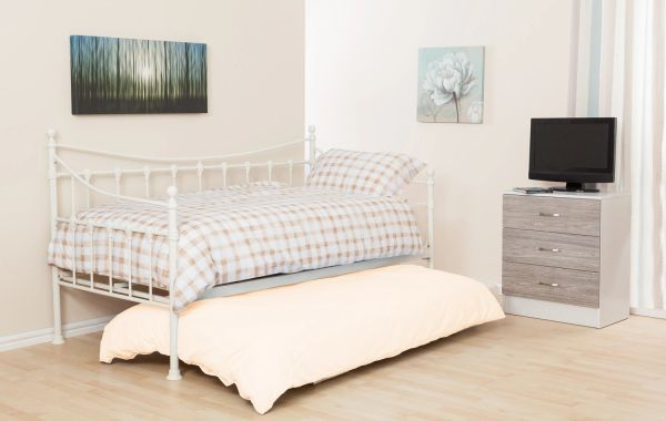 White metal single daybed with trundle
