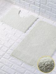 Cream glittery 2 piece bath mat set