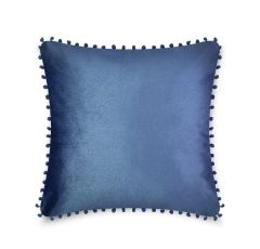 Pom pom blue cushion cover