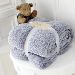 Teddy fleece plain silver throw