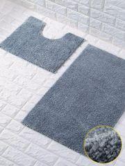 Silver glittery 2 piece bath mat set