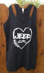 Tank Top Love Jeep Racer Back Tank White Print