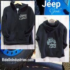 Sweatshirt Jeep Girl Zip Up Sweatshirt Rhinestones