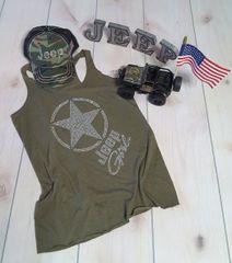 Tank Top Jeep Girl Adult Raw Edge Military Green Vintage Style Rhinestone Tank Top