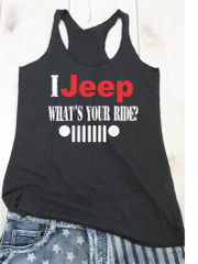 Tank Top I Jeep Whats Your Ride Raw Edge Vintage Red & White Print Tank Top