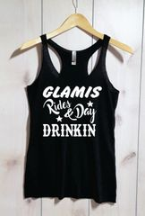 Glamis Rides & Day Drinkin Vintage Raw Edge Tank Racer Back