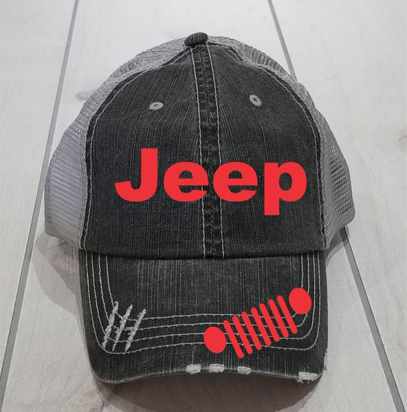 29186f8ae35 Jeep Grill Hat with High Ponytail Option.