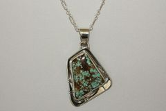 Number 8 Mine Turquoise Pendant - N85523 - SOLD