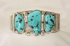 Men's 3 Stone Turquoise Bracelet - BR159