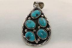 5 Stone Morenci Turquoise Pendant - P4804